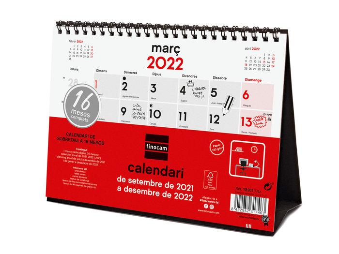 Calendario 2022 18 meses finocam sobremesa s 20-20 catalan