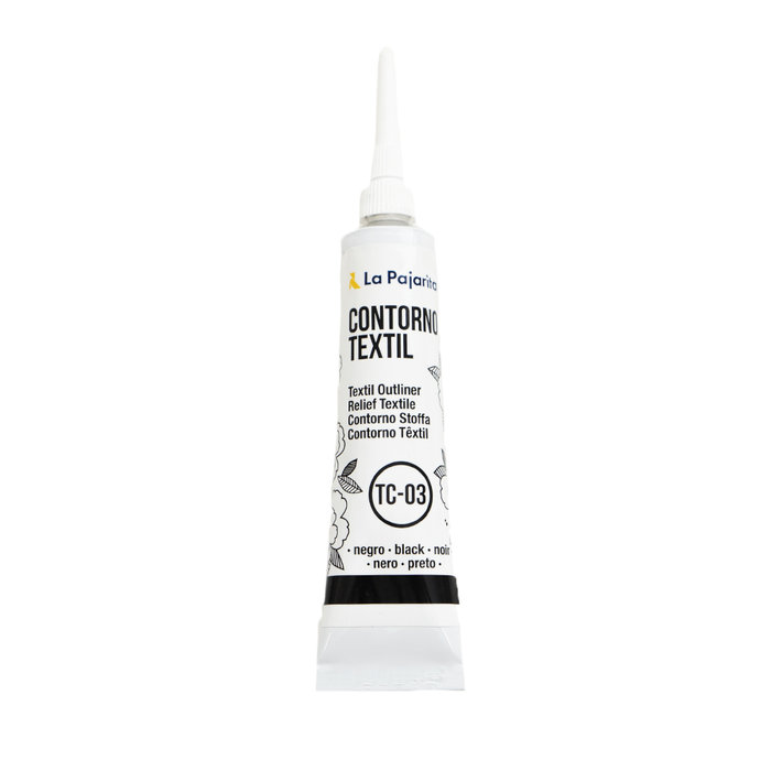 Contorno relieve textil base agua color negro