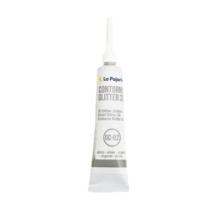 Contorno relieve glitter 3d base agua color plata