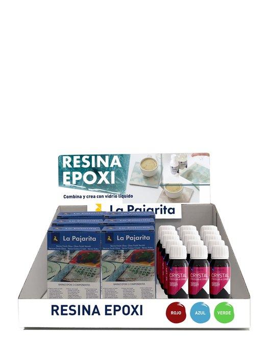 Expositor 6 kits resina la pajarita 180 ml  y 15 uds laca cr
