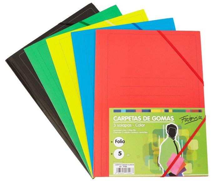 Carpeta folio solapa surtido clasico 5 colores