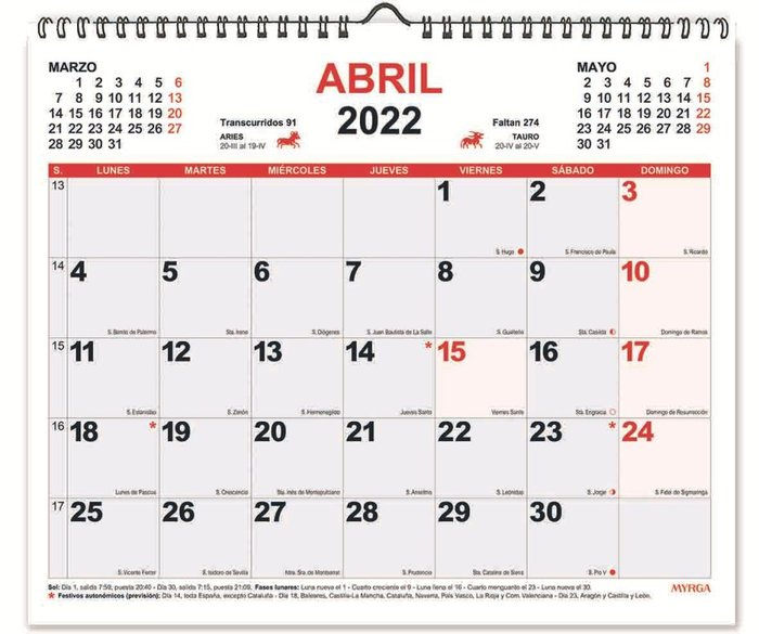 Planning mensual espiral 2022 myrga