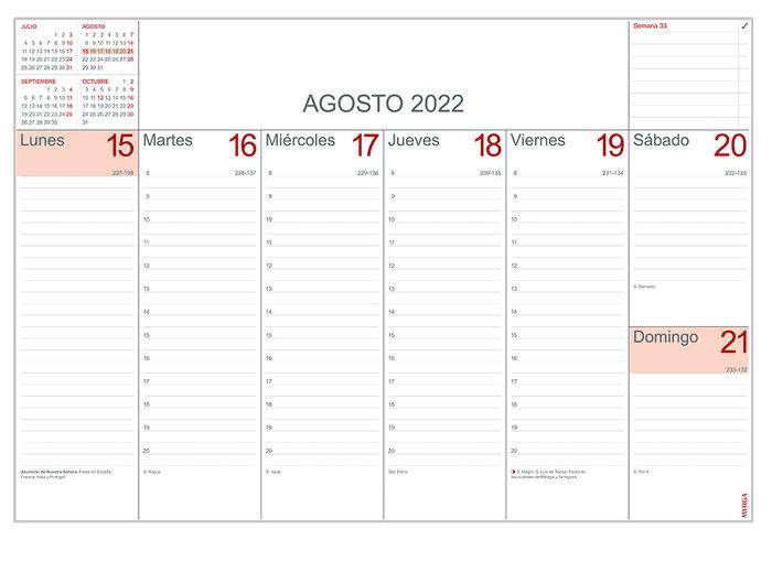 Calendario semanal 2022 myrga