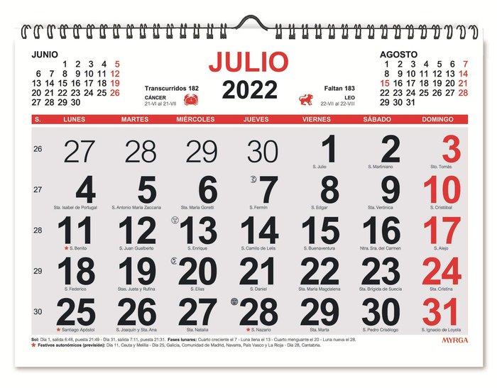 Calendario mensual 2022 espiral myrga