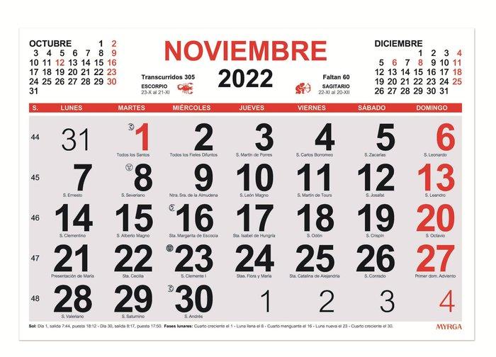 Calendario mensual 2022 myrga