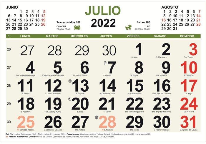 Calendario mensual 2022 color myrga
