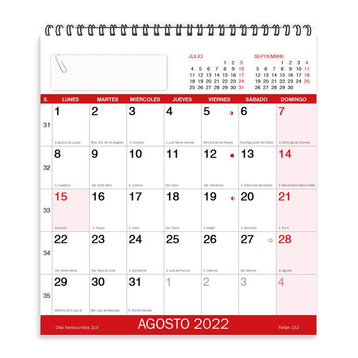 Calendario sobremesa mensual 2022 myrga