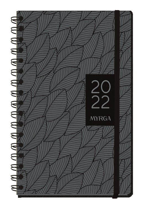 Agenda anual 2022 texture semana vista hojas myrga