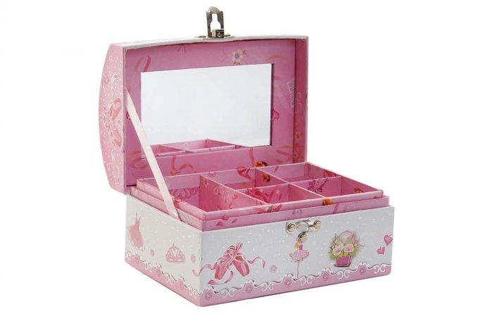 Joyero carton 16x11,5x9,5 ballet rosa