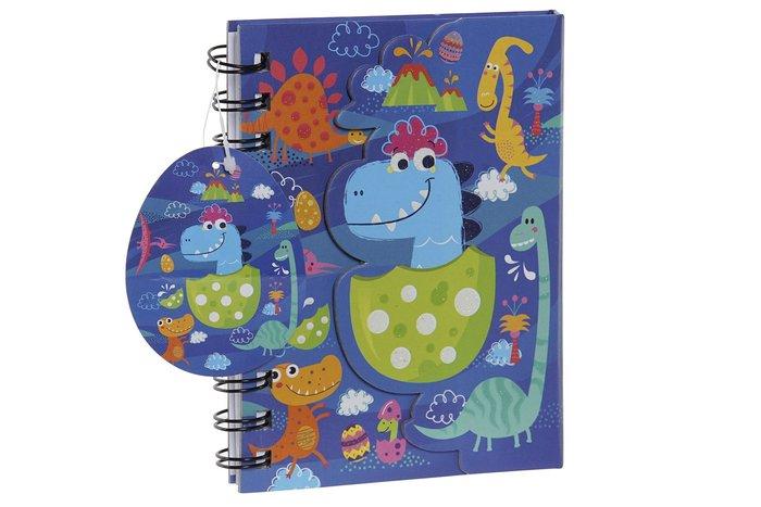 Libreta carton papel 12x2x15 80h dinosaurios azul