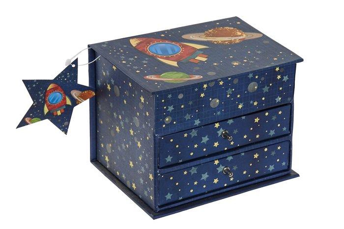 Joyero carton espejo 13x10x10,2 cosmos azul