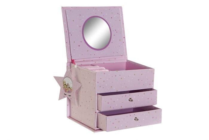Joyero carton espejo 13x10x10 rosa