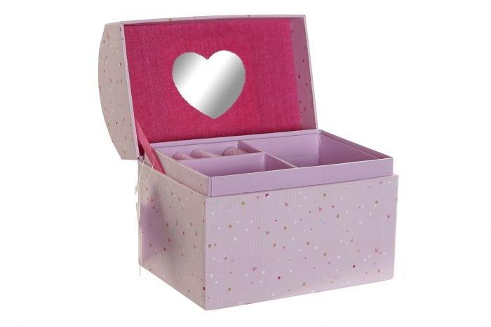 Joyero carton espejo 16,5x10,3x13,5 rosa