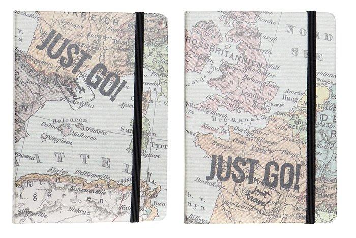 Libreta carton 10,5x1,5x14,5 80h horizontal mapamundi surtid