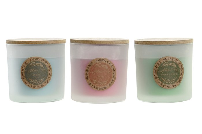 Vela cristal 10,2x10,2x10,7 350 g aroma mediterraneo surtido