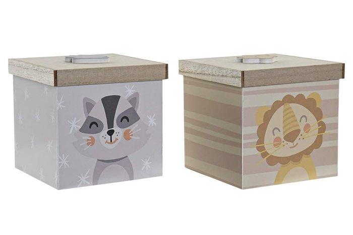 Caja decoracion madera 11,5x11,5x11 leon surtida