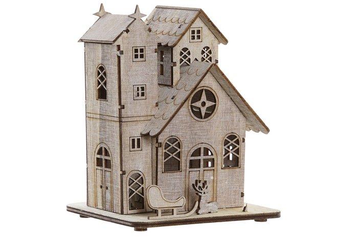 Decoracion casa madera led 13x11,5x16