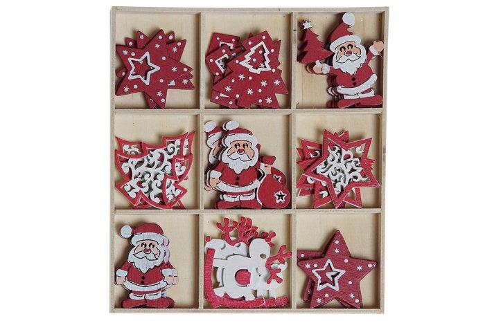 Decoracion navidad madera set 36 unidades surtidas