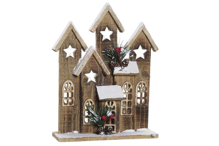 Casa navidad nevada de madera con led