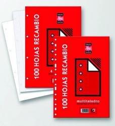 Recambio folio 80h multitaladro cuadro 4mm