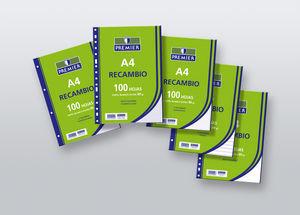Recambio a4 100h 90gr horizontal premier