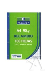 Recambio liso premier a4 100 hojas papel 90gr