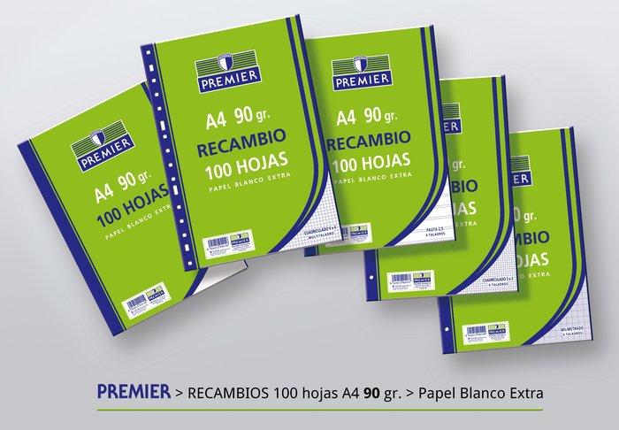 Recambio premier cuadro 4x4 a4 100h papel 90gr multitaladro