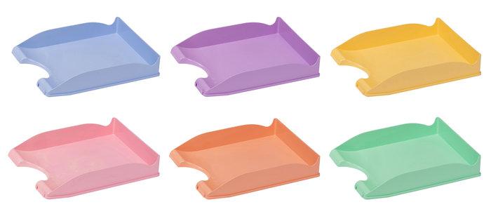 Bandeja de plastico apilable con portaetiquetas azul pastel