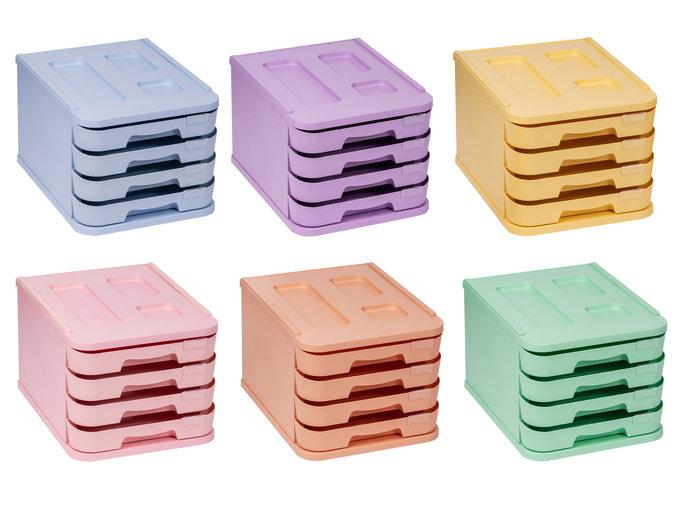 Organizador 4 cajones de 5cm con portaetiquetas rosa pastel