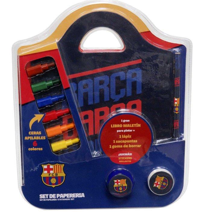 Set de papeleria libro maletin fc barcelona
