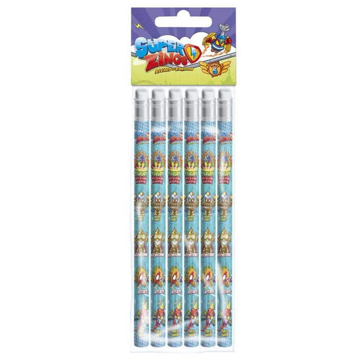 Set 6 lapices con goma superzings