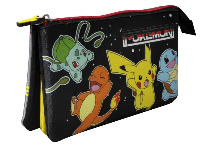 Portatodo triple con 5 compartimentos pokemon