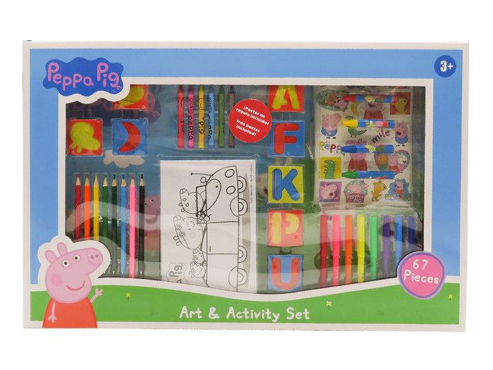 Set de actividades con 67 piezas en caja peppa pig