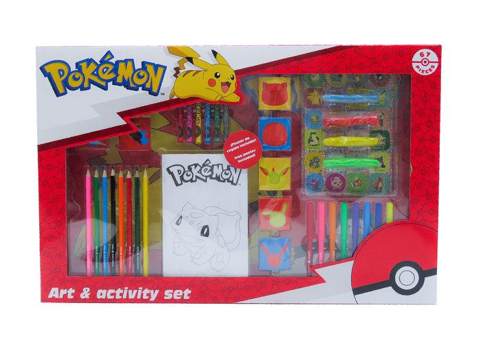 Set de actividades con 67 piezas en caja pokemon