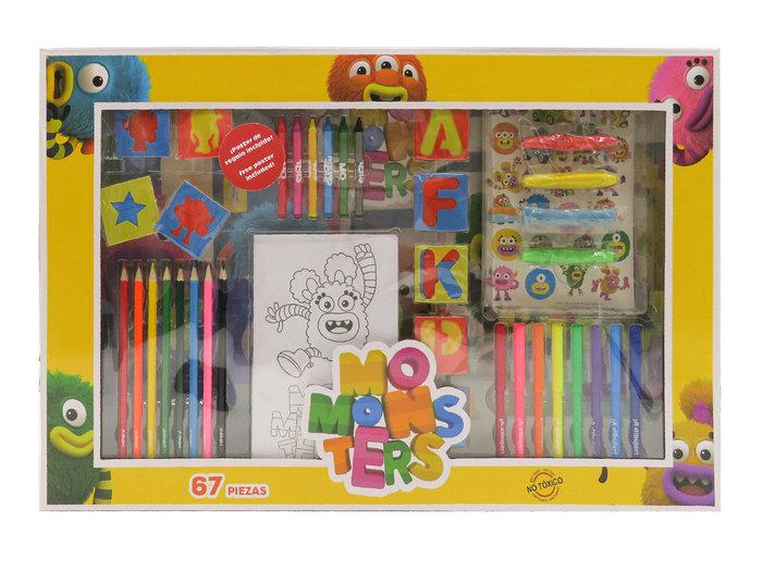 Set de actividades con 67 piezas en caja momonsters