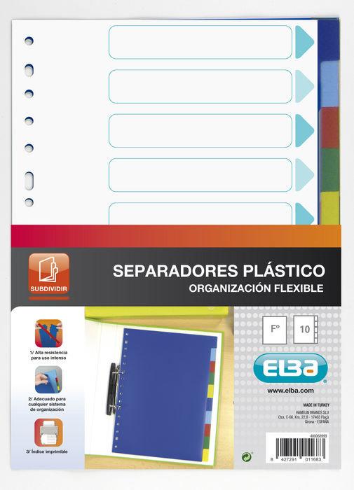 Separadores folio plastico 10 posiciones colores surtidos