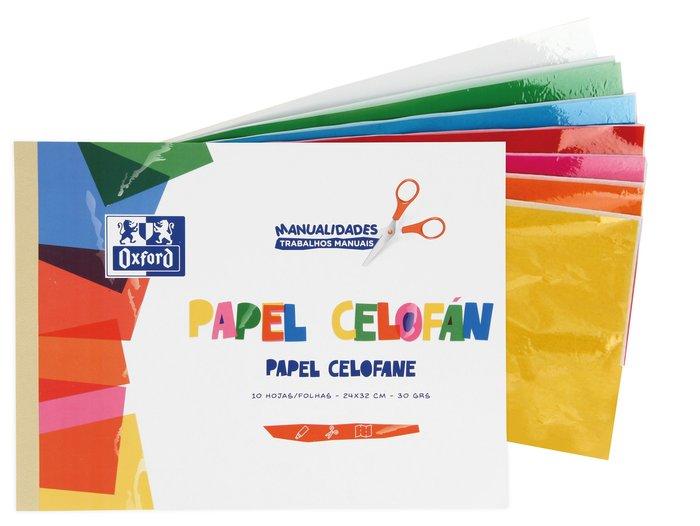 Bloc a4 10 hojas papel celofan manualidades