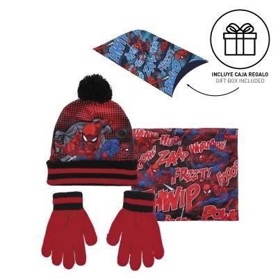 Conjunto 3 piezas guantes+gorro+cuello caja regalo spiderman
