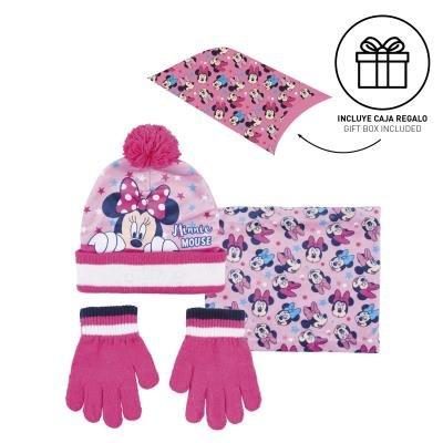Conjunto 3 piezas guantes+gorro+cuello caja regalo minnie