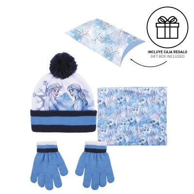 Conjunto 3 piezas guantes+gorro+cuello caja regalo frozen ii