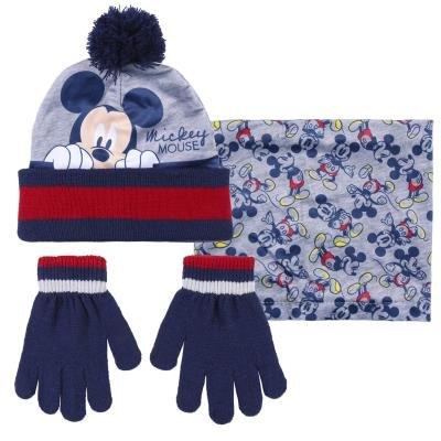 Conjunto 3 piezas guantes + gorro + cuello snood mickey