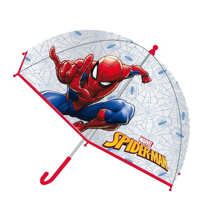 Paraguas manual poe burbuja spiderman transparente