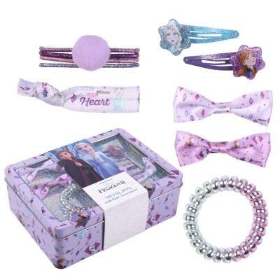 Set de accesorios para el pelo en caja metalica frozen ii