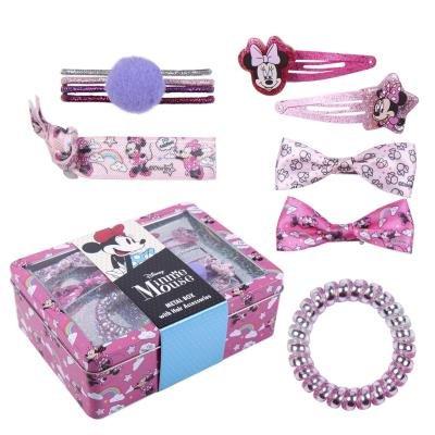 Set de accesorios para el pelo en caja metalica minnie
