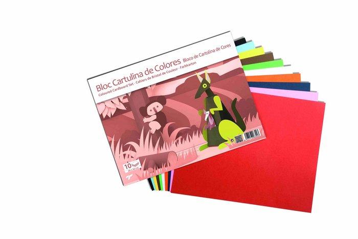 Bloc manualidades cartulina colores base c/10