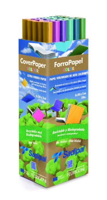 Expositor 30 rollos papel kraft 2m verjurado colores surtid