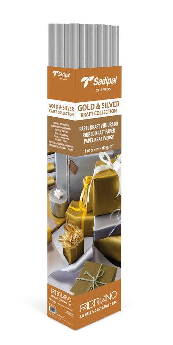 Expositor 25 rollos papel kraft 3m plata