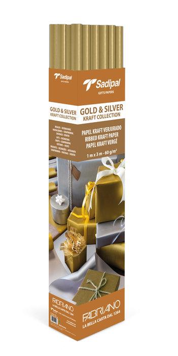 Expositor 25 rollos papel kraft 3m oro