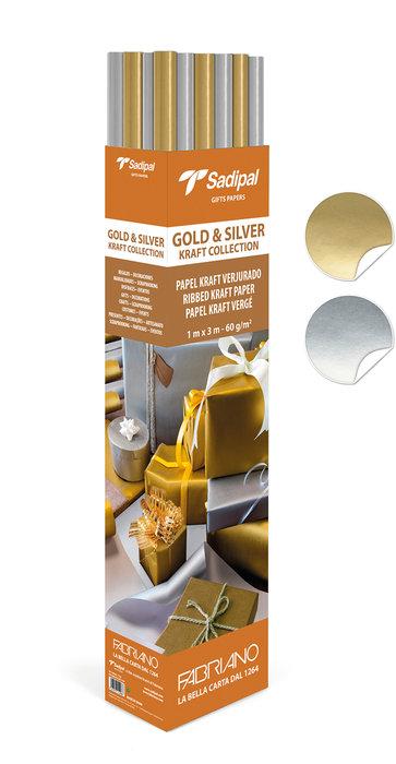 Expositor 25 rollos papel kraft 3m oro y plata