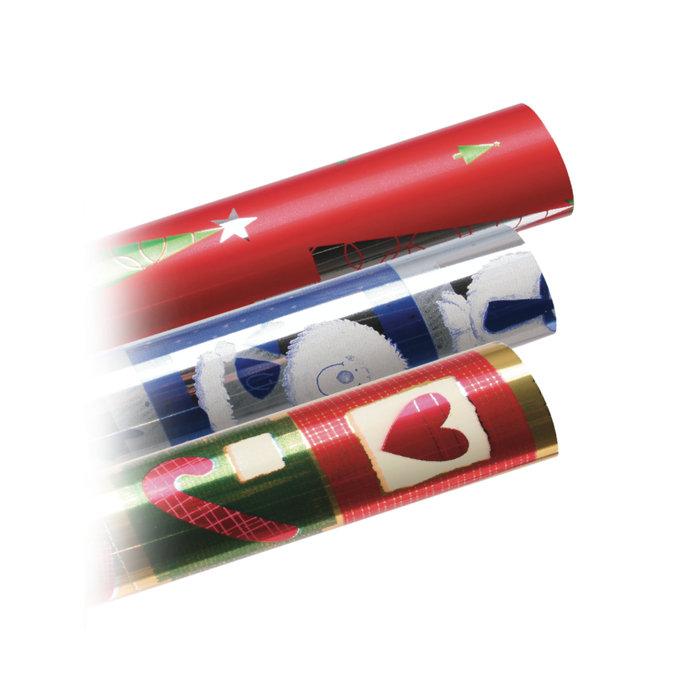 Papel regalo rollo 07x1.5 metalizado navidad 3150052